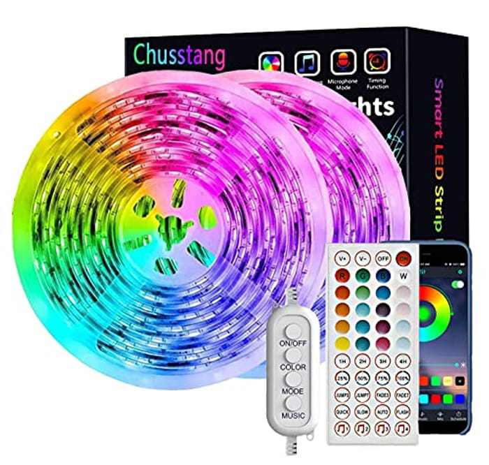 Chusstang Led Strip Lights with Remote, 15M LED Lights with 44-Keys Remote & Bluetooth APP Control, RGB 5050 Colour Changing Music Sync Led Mood Lights for Bedroom Kitchen Home Party Decoration