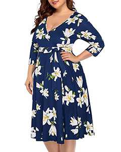 Plus Size Dresses Women Wedding Guest Fall Navy Floral Midi Wrap Long Sleeve V Neck Fit&Flare Casual Party Beach Dress