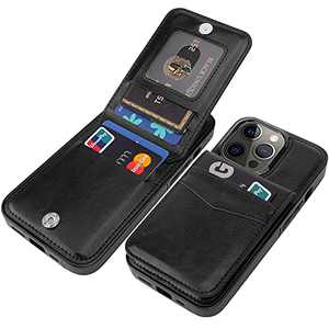 """Taporse for iPhone 13 Pro Wallet Case with Card Holder, Handmade Faux Leather Kickstand Card Slot Case, RFID Blocking Magnetic Shockproof Protective Slim Flip Cell Phone Case/Cover 2021 6.1"""" Black"""