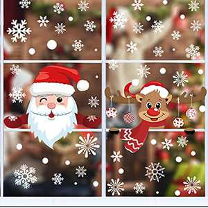 408Pcs Christmas Snowflake Window Clings Decals Santa Reindeer Christmas Clings Stickers for Glass Windows Double Sided Static Christmas Window Stickers for Christmas Day Home School Office Decoration