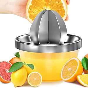 Lemon Squeezer Stainless Steel, Manual Citrus Lemon Orange Juicer 300ML Easy to Juice and Seed-free Hand Juicer TREBLEWIND