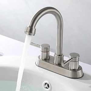 Rainovo Bathroom Faucet with Pop-Up Sink Drain, Brushed Nickel Bathroom Sink Faucet 3-Hole Stainless Steel High Arc, Supply Utility Hose for Laundry Vanity Sink Faucet 2 Handle with Overflow
