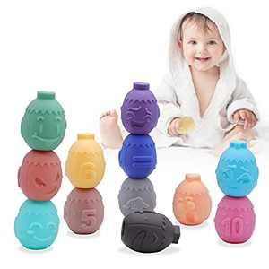 SEONNIX Baby Toys 6 to 12 Months,Sensory Gifts for Baby Toddlers 1 2 3 Years Squeezing Soft Stacking Blocks Toys Baby Teether with Numbers Animals Face Expression