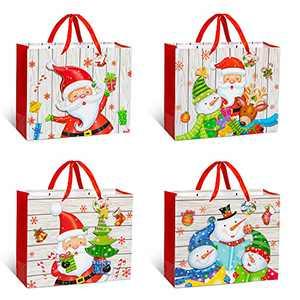 Aisto Christmas Gift Bag Assortment 12 PCS Christmas Holiday Gift Bags Bulk with Christmas Prints - for Goody Bags,Xmas Party Favors, Holiday Treat Bo