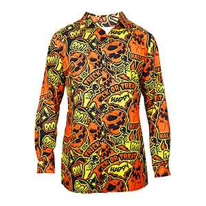 LUKYCILD Mens Pumpkins Button Down Long Sleeve Shirt Funny Halloween Shirts Casual Graphic Lapel Top Yellow