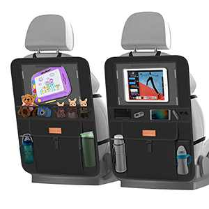Smart eLf Backseat Car Organizer with iPad Holder + 6 Storage Pockets, Back Seat Protectors Kick Mats for Child Baby Kids, Premium Fabric with Sag Proof, Waterproof, Stain Resistant and Easy Clean