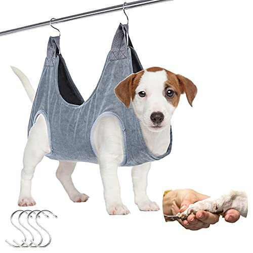 FOXBUS Dog Grooming Hammock Pet Grooming Sling Helper with 4 Hooks, Breathable Grooming Harness Hanging for Help Dog & Cat Trim Nails and Bath Grooming, 2 in 1 Drying Towel and Hammock Restraint Bag