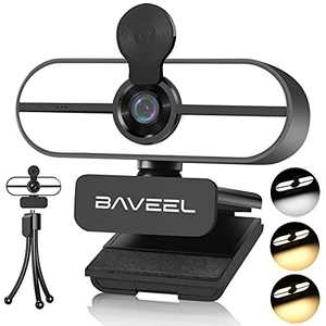 New Upgraded 2k QHD Webcam with Microphone,BAVEEL Auto Light Correction 360°Rotating Streaming Camera with Adjustable Ring Light,Plug and Play,Tripod,110°Wide-Angle Webcams for Skype, Live Streaming