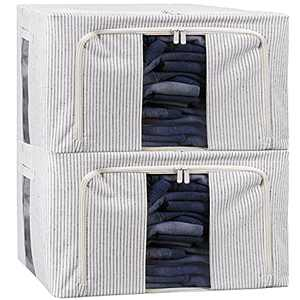 BYG 70L Waterproof Clothes Storage Bag, Closet Organizer with Heavy-Duty 600D Fabric & Reinforced Handle for Comforters, Bedding, with Bamboo Charcoal Bag Odor Absorber (Stripe-70L)