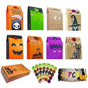 Halloween Trick or Treat Goody Bags, 40Pcs Treat Goodie Bags,8 Styles Treat Bags Bulk Party Favors with 50 Pieces Stickers for Halloween Party Supplies