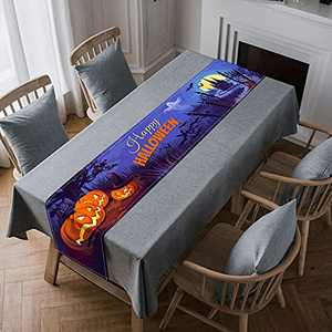 Halloween Table Runner Happy Halloween Haunted House Ghost Pumpkins Castle Cotton-Linen Table Runner for Holiday Kitchen Dining Table Decoration for Home Party Indoor Outdoor Decor 13 x 72 Inch - Blue