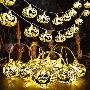 MILEXING 10ft 20 LEDs Waterproof Pumpkin String Lights Halloween Decorations, Battery Operated Halloween Lights for Indoor Outdoor Halloween Decor Patio Garden Party