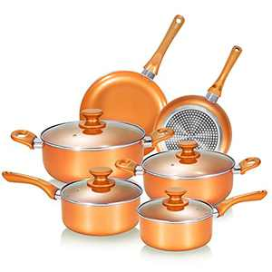Nonstick Cookware Set, Pots and Pans Set, Ceramic Coating Saucepan for Cooking, Stock Pot with Lid, Frying Pan, Copper, 10 pieces