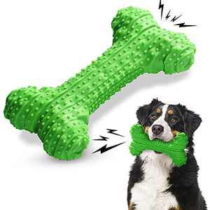 TheWooffylum Dog Chew Toys for Aggressive Chewers Medium & Large Breed, Super Chewer Toys for Dogs, Interactive Squeaky Dog Toys with Non-Toxic Natural Rubber(Green)