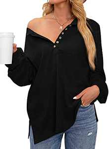 Phortric Women's V Neck Long Sleeve Henley Tops Casual Oversized Button Down Knitted Blouse Shirt Tunic Black