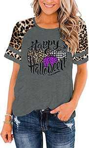Happy Halloween Shirt for Women Leopard Pumpkin Tops Halloween Baseball Shirts Raglan Short Sleeve Tees Grey