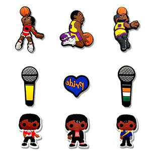 Shoe Charms for James Jordan Sports Basketball Stars Mixed, Black Man Shoe Accessories Pins for Boys Kids Men, Party Favors Birthday Gifts(10pcs)
