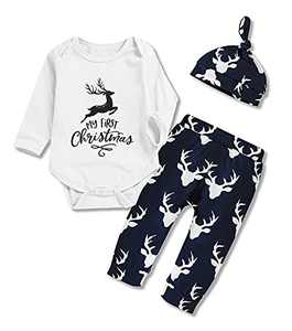 My First Christmas Newborn Baby Boy Girl Christmas Clothes Long Sleeve Romper Tops Pants Hat Outfits (Blue, 0-6 Months)