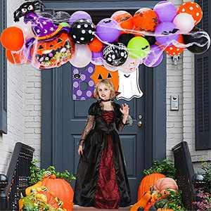Halloween Balloon Arch Garland Kit,Black Orange Confetti Balloons with Mylar Spider