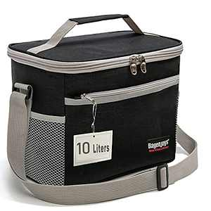 Lunch Bag 10L,Insulated Lunch Box for Men/Women,Reusable Cooler Lunch Bags for Adults/Kids,Leakproof Lunch Bag Box with Adjustable Shoulder Strap for Office School Picnic Beach-Black.