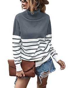 Krisimil Women's Casual Turtleneck Long Sleeve Loose Patchwork Sweater Knit Pullover Sweater