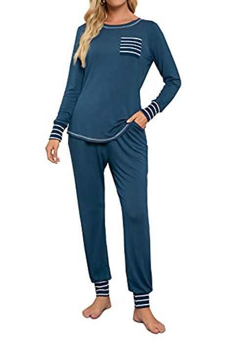 Women's Petite Pajama Sets Long Set Lounge Cotton Sleepwear Comfy Striped Nightwear Soft Pj Lounge Sets With Pockets