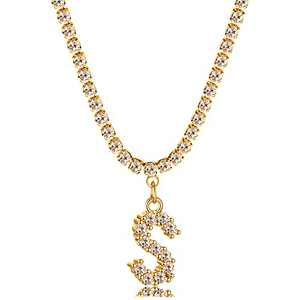 Freekiss Gold Choker Necklaces 18k Gold Plated Sparking Cubic Zirconia Tennis Nacklace Choker Classic Initial Letter Pendant Alphabet S Custom Name Personalized Jewelry Gift for Her