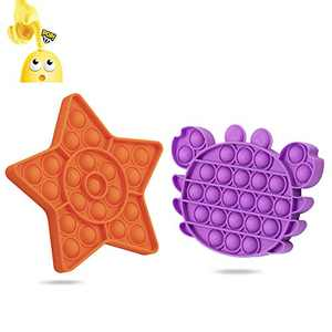 Bubble Sensory Fidget Toy Autism Needs Stress/Anxiety Reliever Toy 2 Pcs Silicone Squeeze Sensory Toy Miniature Novelty Toys Push Poke Pop Toys Fidget Toys Pack Gifts forKids Adults Boys Girls Office