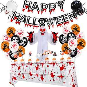 Halloween Party Decorations Kit Blood Color Banner, Happy Halloween Banner Set Scary Halloween Inflatables Outdoor Decorations