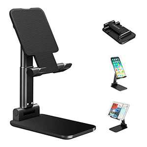 Cell Phone Stand, Adjustable Angle Height Phone Stand for Desk, Foldable Aluminum Desktop Phone Holder, Tablet Stand Compatible for Cell Phone/Tablet (Dark Blue)