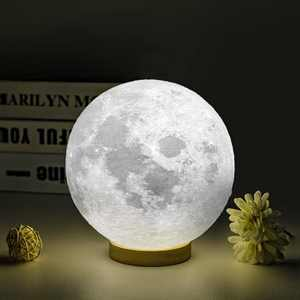 UooEA Moon Lamp, 5.9 Inch 16 Color LED 3D Print Star Planet Lamp, USB Rechargeable Remote & Touch Control, with Wood Stand & Hanging Net, Cool Stuff for Kids Baby Friend Birthday Room Space Decor
