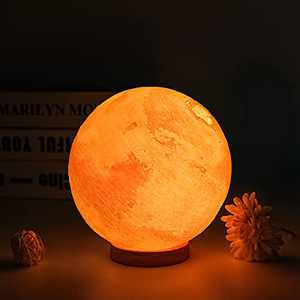 UooEA Mars Lamp, 5.9 Inch 16 Color LED 3D Print Moon Lamp, USB Rechargeable Remote & Touch Control, with Wood Stand & Hanging Net, Cool Planet for Kids Baby Friend Birthday Room Space Decor