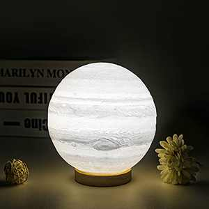 UooEA Jupiter Lamp, 5.9 Inch 16 Color LED 3D Print Planet Night Light, USB Rechargeable Remote & Touch Control, with Wood Stand & Hanging Net, Cool Stuff for Kids Baby Friend Birthday Room Space Decor