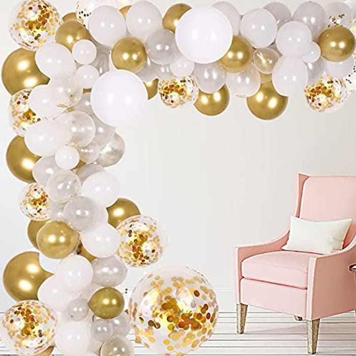 Balloon Arch Kit, 102pcs White Gold Latex Party Balloon & Tying Tool, Wedding Baby Shower Birthday Balloons, for Supplies Wedding Party, Birthday Decoration Party