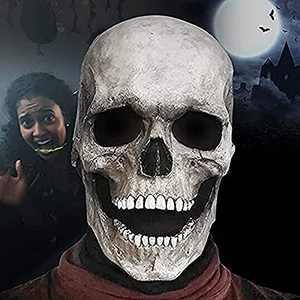 Full Head Skull Mask, Scary Halloween Skeleton Mask Human Skull Mask with Moving Jaw Skull Mask for Halloween Costume(White)