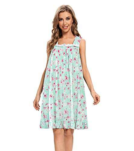 MZROCR Womens Sleeveless Nightgown Soft Nightshirt Chemise Long Sleep Dress Nightgowns Comfy Cotton Nightgown Sleepwear Green Pink Floral L