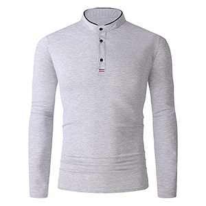 Esabel.C Mens Long Sleeve Polo Shirts Casual Regular Fit Fashion Designed Shirt,Grey,S