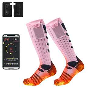 Aven Heated Socks, Long Socks for Women Men Battery Operated Heater, 5000 mAh Battery with Bluetooth APP Control, Foot Warmer for Winter Outdoor Sports, Skiing, Fishing, Cold Feet, X-Large, Pink