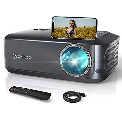 """OKCOO Projector,7500L Full HD 4K Portable Movie Projector for Outdoor,±15° Keystone Correction & Zoom, 1080P & 200"""" Screen Home Theater Projector for TV Stick,HDMI, PS4, USB,Phone, iOS & Android"""