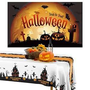Halloween Party Decoration, Halloween Tablecloth Backdrop for Halloween Decorations Indoor Outdoor, 2pcs Halloween Table Cover and 1pcs Halloween Banner Photography Background Photo Booth Backdrop