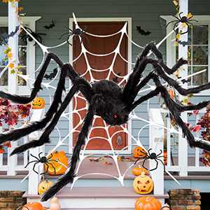 Halloween Decorations 5FT Giant Spider with 11.5FT Huge Round Spider Web Set 59 inch Large Fake Halloween Scray Spider Props for Outdoor Yard Halloween Party Decor