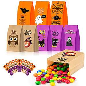 """56 PCS Halloween Candy Paper Bags with Stickers, Treat Bags for Halloween Candy, Trick or Treat Goody Gift Bags for kids, 8.7""""x4.7""""x3.2"""" Larger Halloween Party Supplies"""
