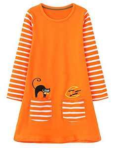 Haydendear Girls Dresses Halloween Striped Long Sleeve Cats Moon Orange Spring Tshirt Swing Shift A Line Jersey Scoop Neck with Pockets Sport Pretty Beautiful Cute School Dress Girls 7-8 Years,JP213
