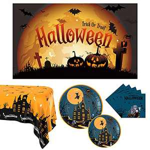 Halloween Party Supplies, Halloween Plates and Napkins Serves 24, Halloween Party Decorations Halloween Disposable Dinnerware Set Includes Tablecloth, Pumpkin Party Plates, Backdrop and Napkins