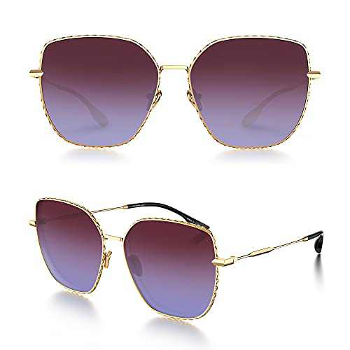 LUENX Trendy Square Oversized Women Sunglasses - Polygon Flat Glasses Three dimensional Rhombic Loop Wire Gold Frame PC Gradient Lens