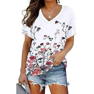 Ownow Women's Short Sleeve V Neck Floral Print T Shirts Summer Summer Basic Tunic with Side Shirring Casual Solid Color Tee Tops