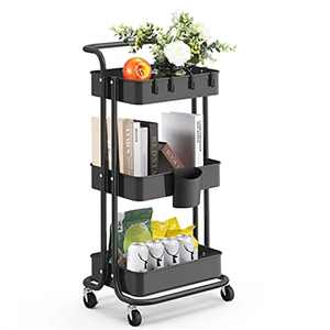 alvorog Storage Trolley, 3-Tier Metal Trolley on Wheels, Multifunctional Rolling Cart with Handle Hanging Cup & 4 Hooks Shelving Organizer for Kitchen,Bathroom, Office, Library (Black)