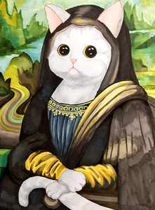 SIYTAMO Diamond Painting Kits for Adults & Kids,DIY Funny Cat Mona Lisa 5D Diamond Art Painting by Number Kits,Perfect for Home Decoration and Room Wall Decor