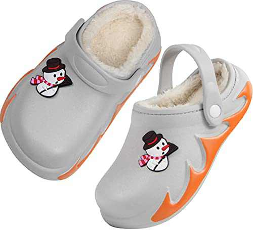 Girls Boys Fur Lined Clogs Winter Garden Shoes Warm Outdoor Mules Sandals Size 11 M 11.5 M US Gray Little Kid