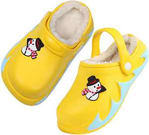 Boys Girls Fur Lined Clog Winter Slippers Garden Shoes Warm House Shoes Non-Slip Indoor Outdoor Size 2.5 M US Yellow Big Kid